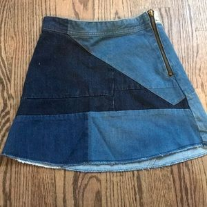 Zara Denim Patchwork Skirt Size XS